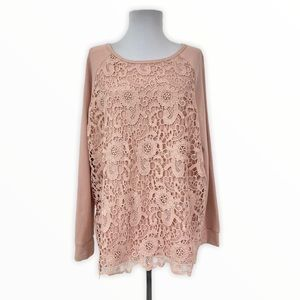 Adrianna Papell Pullover Sweatshirt Top Lace Large